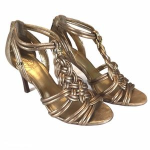 Tory Burch Constance Gold Knotted Sandal Heels 7.5